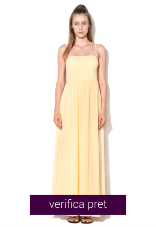 Rochie maxi galben pal cu pliuri