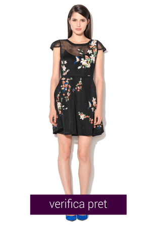Rochie neagra de plasa cu broderie florala