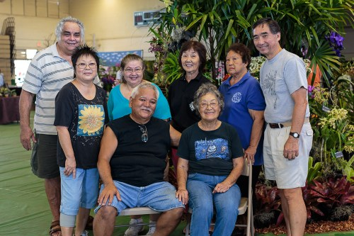The HOS work crew (seated from left to right are Calvin Abe and Williette Wong; standing from left to right are Ben Sills, Sherry Abe, Carol De Witt, Charlotte Yamamoto, Vivian McCoy and Melvin Waki) posed for a picture after the display was completed.  Starting at 10:30 AM, it took about 3 hours to put up the display.  Click on the photo for a larger image.