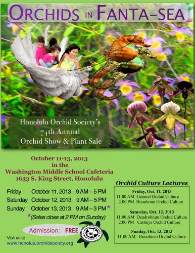 2013 Honolulu Orchid Society Show Poster designed by Inez Brunson.  Click on the image for a larger view.