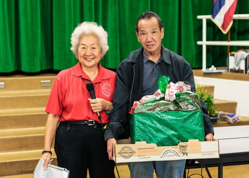 President Ruth Chun presented a special gift to the Kodama's for their help and contributions to the HOS Show.  Accepting the gift is Ben, Jr.