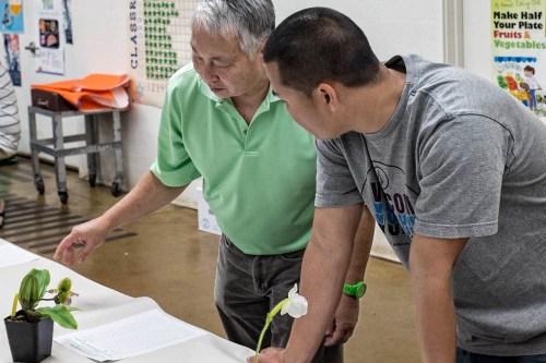 Randy Tajima gives some expert advice during the bidding process.
