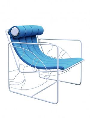 armchair sun eldorado headrest padded blue repellent fabric white iron