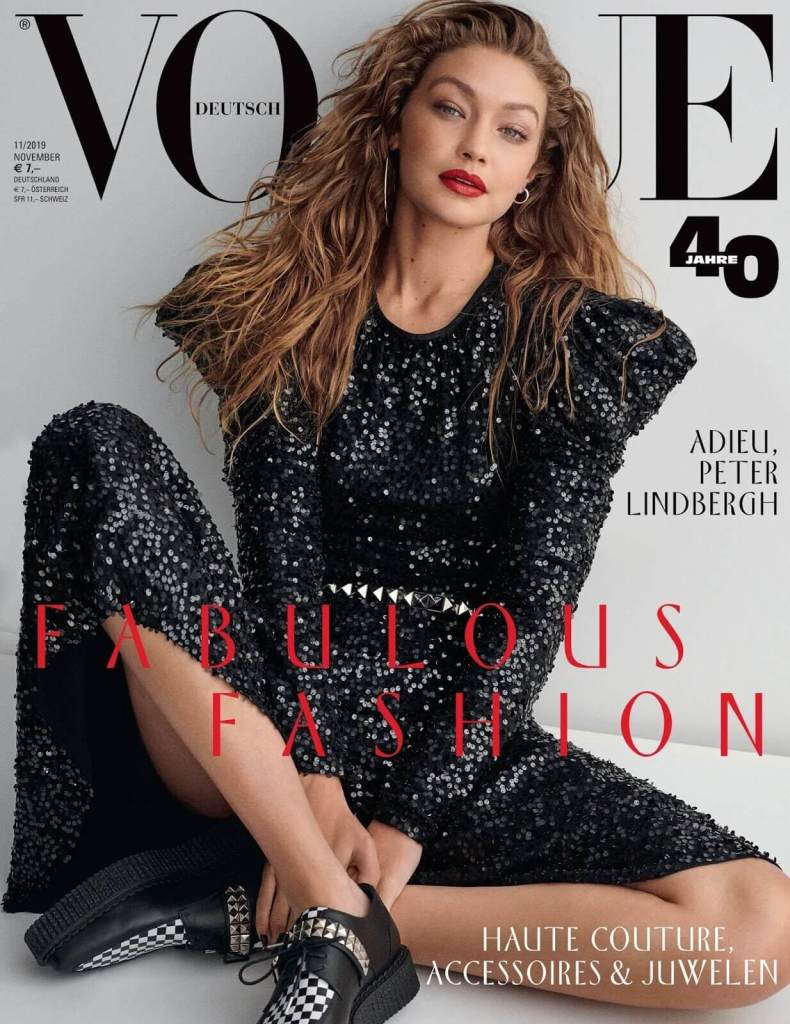 Gigi Hadid for Vogue Germany November 2019. Photographed by Giampaolo Sgura.