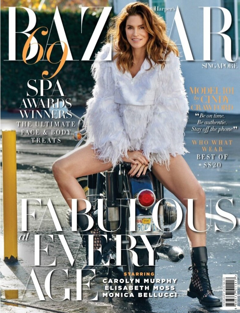 Cindy Crawford covers the February 2020 issue of Harper's Bazaar Singapore. Photographed by Yu Tsai.