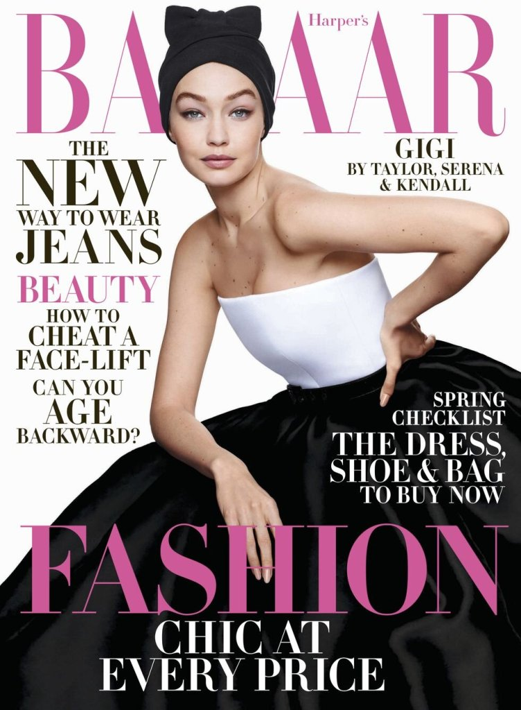 Gigi Hadid covers the April 2020 issue of Harper's Bazaar US. Photographed by Solve Sundsbo and styled by George Cortina.