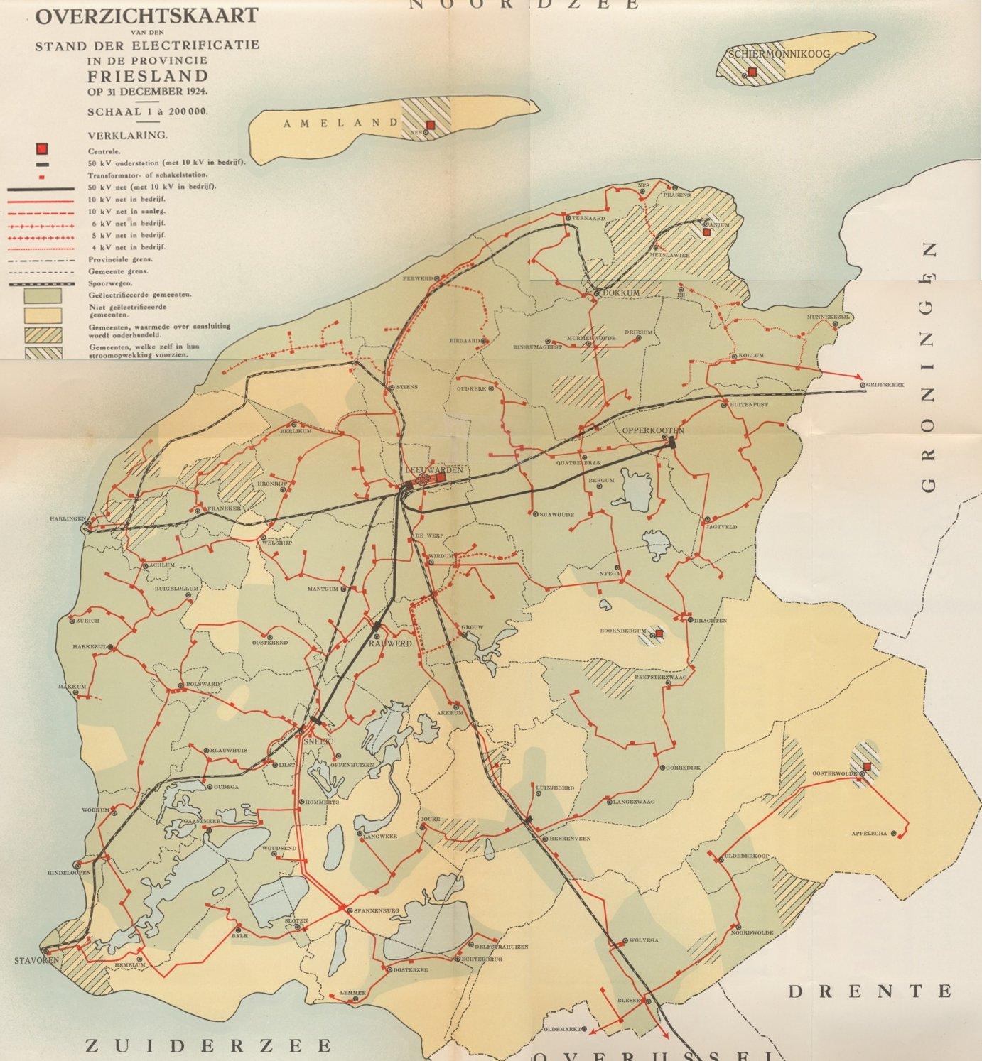 Netkaart Friesland 1924