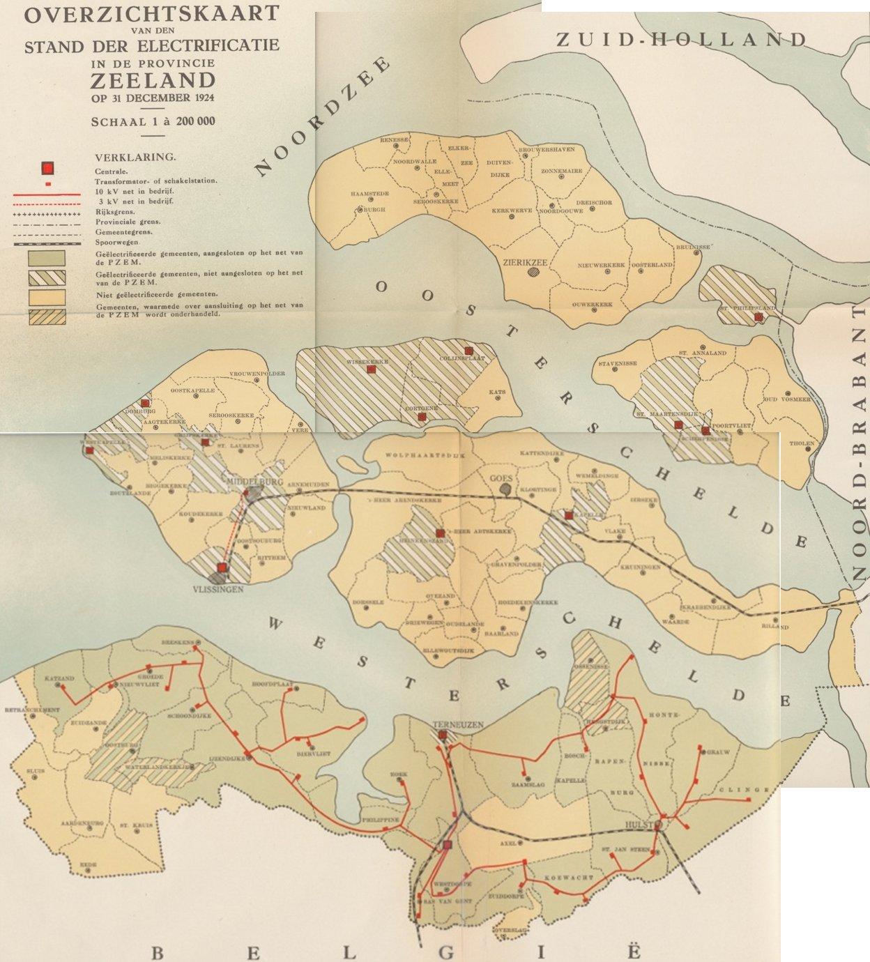 Netkaart Zeeland 1924