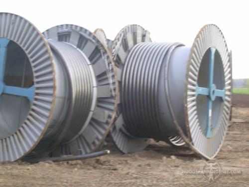 haspels met 110 kV-grondkabels