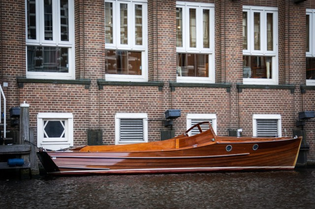 This boat belongs to Tommy Hilfiger office in Amsterdam