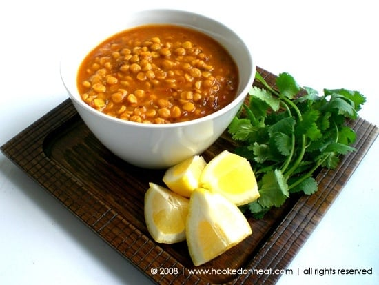 Recipe for Chana Dal Masala taken from www.hookedonheat.com. Visit site for detailed recipe.