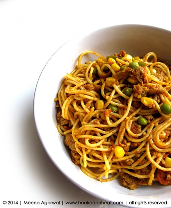 Recipe for Keema Spaghetti, taken from www.hookedonheat.com. Visit site for detailed recipe.