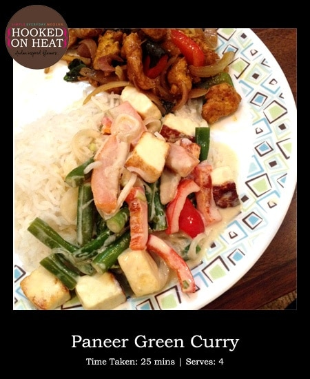 Recipe for Paneer Green Curry taken from www.hookedonheat.com