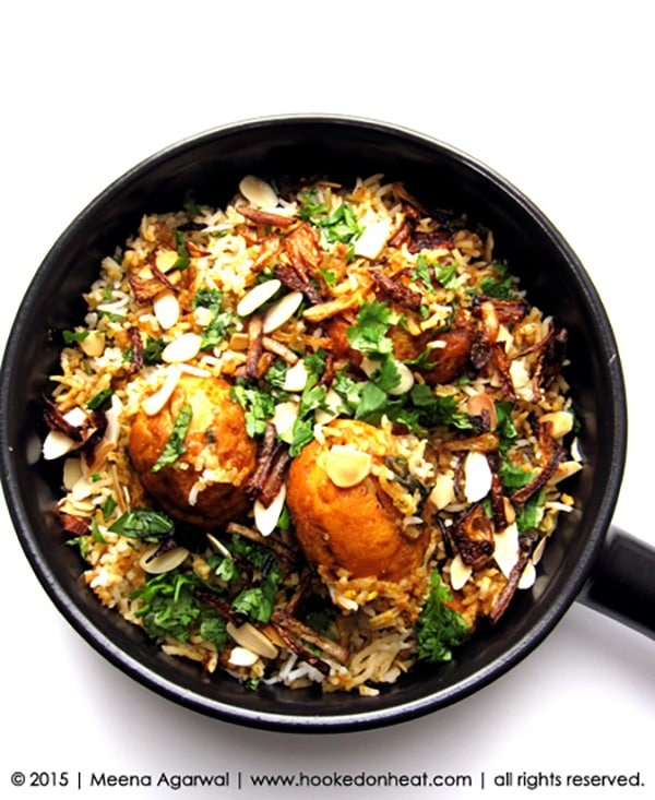 Recipe for Egg Biryani, taken from www.hookedonheat.com. Visit site for detailed recipe.