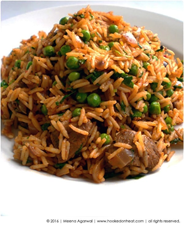 Recipe for Spiced Lamb Pilaf taken from www.hookedonheat.com. Visit site for detailed recipe.