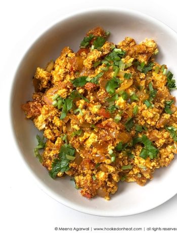 Recipe for Paneer Burji (Scrambled Paneer), taken from www.hookedonheat.com. Visit site for detailed recipe.