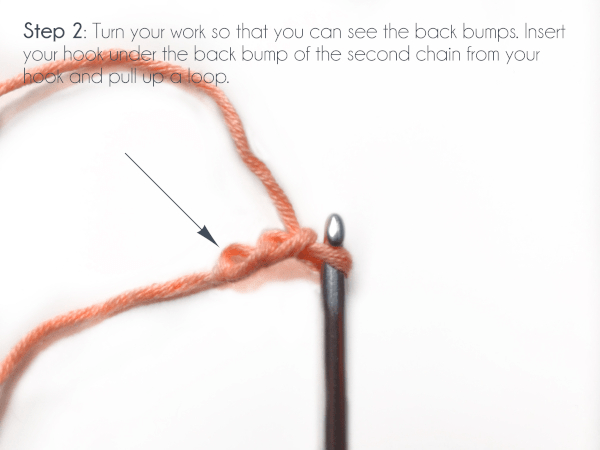 """""""Step 2: Turn your work so that you can see the back bumps.  Insert your hook under the back bump of the second chain from your hook and pull up a loop.""""  A crochet hook has just completed two chains in an orange yarn."""