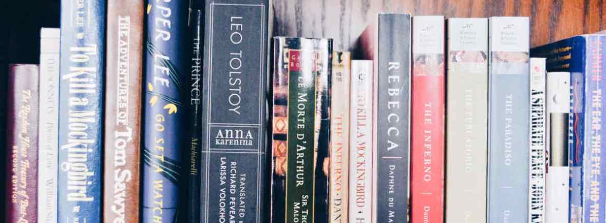 A dark maple bookshelf displays several classic titles