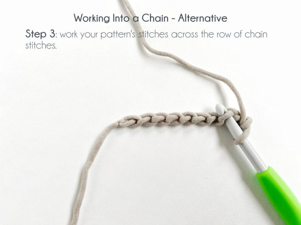 """Working Into a Chain - Alternative; Step 3: Work your pattern's stitches across the row of chain stitches."""