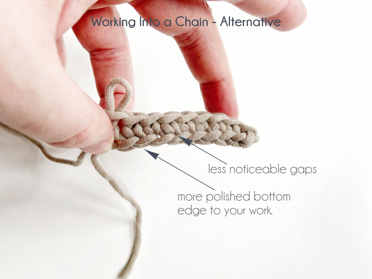 """""""Working into a chain - Alternative"""" A hand holds a swatch row of single crochet has been worked into the back bumps of all chain stitches and lays on a white background. Arrows point out """"less noticeable gaps"""" and """"more polished bottom edge to your work."""""""