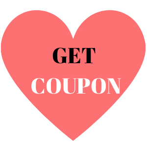 """A pink heart on a white background reads """"Get Coupon"""""""