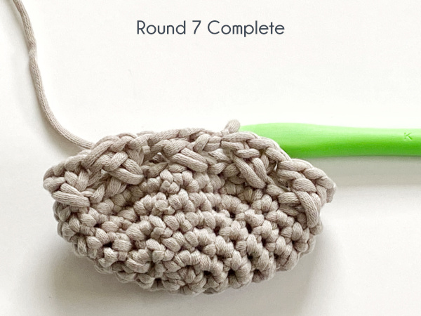 "A half-finished pattern shows seven rounds completed in a taupe yarn laying on a white background. Text on the photo reads: ""Round 7 Complete."""