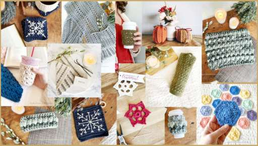 A collage of crochet projects are arranged on a gold background