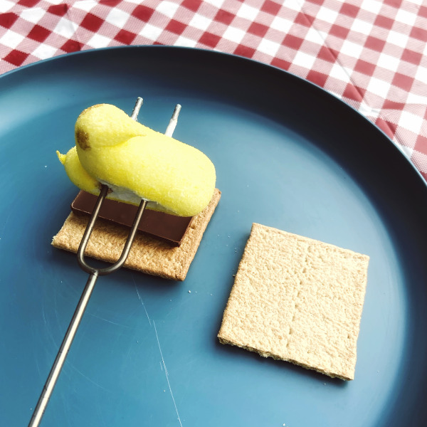 The newly roasted yellow chick Peep still skewered on the metal roasting fork sits on top of a graham cracker square and piece of chocolate bar with the top graham cracker square off to the side on a blue plate sitting on a red checked tablecloth.