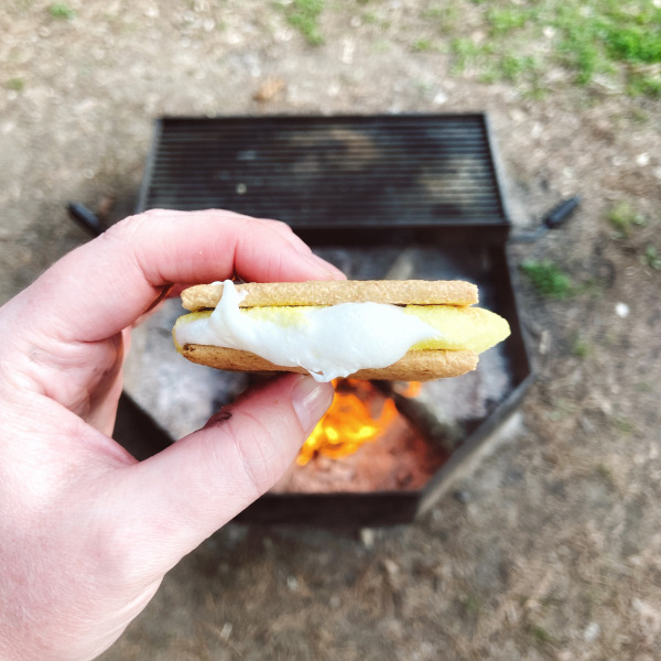 A hand holds a completed S'more made with the yellow chick Peep with the flaming orange and yellow campfire in the background.