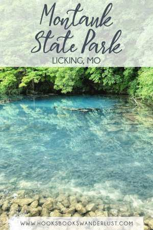 """Text reads, """"Montauk State Park, Licking, MO, www.hooksbookswanderlust.com""""  Image shows a sapphire blue lake with a clear view of the lake bed rocks and fish and trees overhanging the water."""