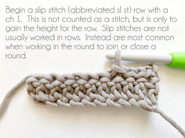 """""""Begin a slip stitch (abbreviated as """"sl st"""") row with a chain 1. This is not counted as a stitch, but is only to gain the height for the row. Slip stitches are not usually worked in rows, but instead are most common when working in the round to join or close a round."""""""