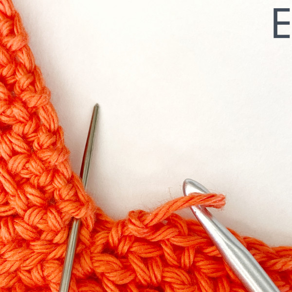 """Image, labeled """"E,"""" shows a needle indicating where to slip stitch to secure the end of the current modesty row."""