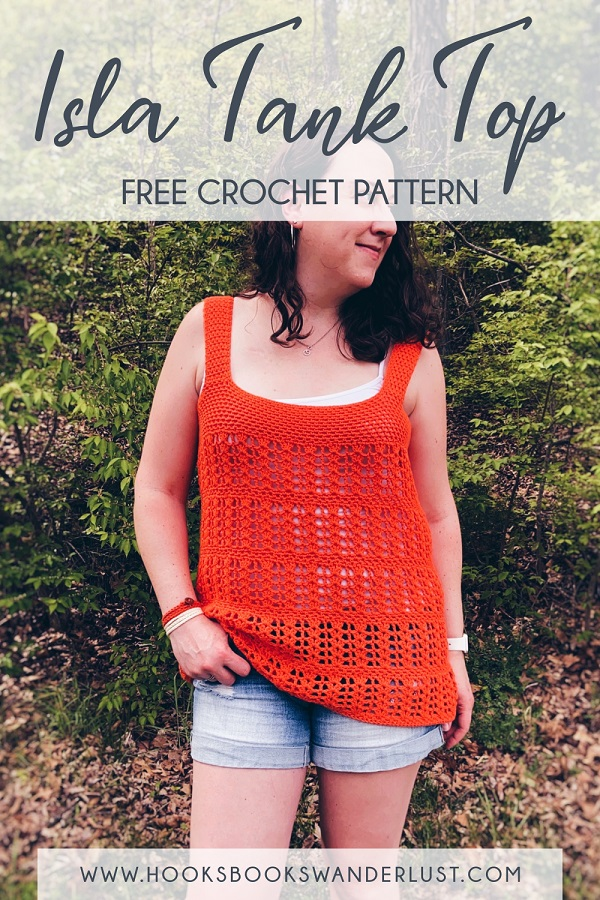 """Save on Pinterest - Image shows Kristen wearing the Isla Tank Top with a pair of jean shorts, gold hoop earrings, and orange and white wrap bracelets, standing in front of a wooded area. Text reads, """"Isla Tank Top Free Crochet Pattern www.hooksbookswanderlust.com"""""""