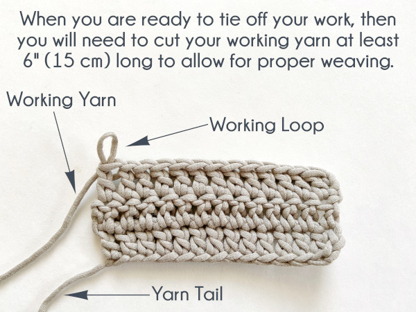 """Image shows a swatch of double crochet with the last stitch just completed, working loop still open, working yarn uncut. Arrows point to and label each of the working loop, yarn tail, and working yarn. Text reads: """"When you are ready to tie off your work, then you will need to cut your working yarn at least 6"""" (15 cm) long to allow for proper weaving."""""""