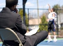 basketball coach in chair
