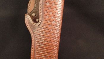 1911 Leather Holster – Right Hand Basket Weave – Mahogany