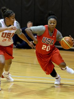 Kaleena Mosqueda-Lewis (left) and Odyssey Sims are among the six college athletes named to the 2014-16 USA National Team. Photo: Andrew D. Bernstein/NBAE via Getty Images.
