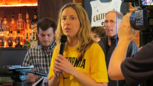Cal head coach Lindsay Gottlieb addresses fans during the team's selection party on Monday, March 15, 2015 in Berkeley.