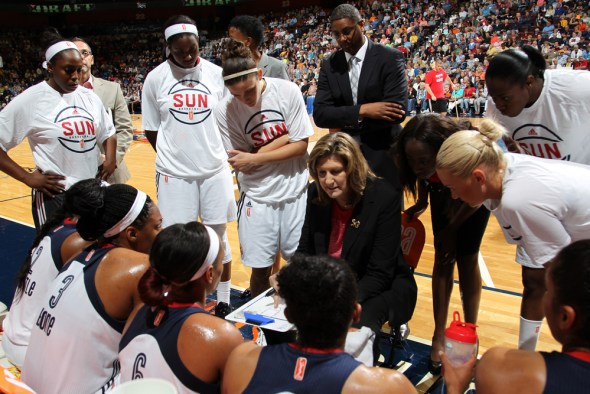 UNCASVILLE, CT - JUNE 5: The Connecticut Sun host the Washington Mystics in their 2015 WNBA season home opener at the Mohegan Sun Arena on June 5, 2015 in Uncasville, Connecticut. NOTE TO USER: User expressly acknowledges and agrees that, by downloading and/or using this Photograph, user is consenting to the terms and conditions of the Getty Images License Agreement. Mandatory Copyright Notice: Copyright 2015 NBAE (Photo by Chris Marion/NBAE via Getty Images)