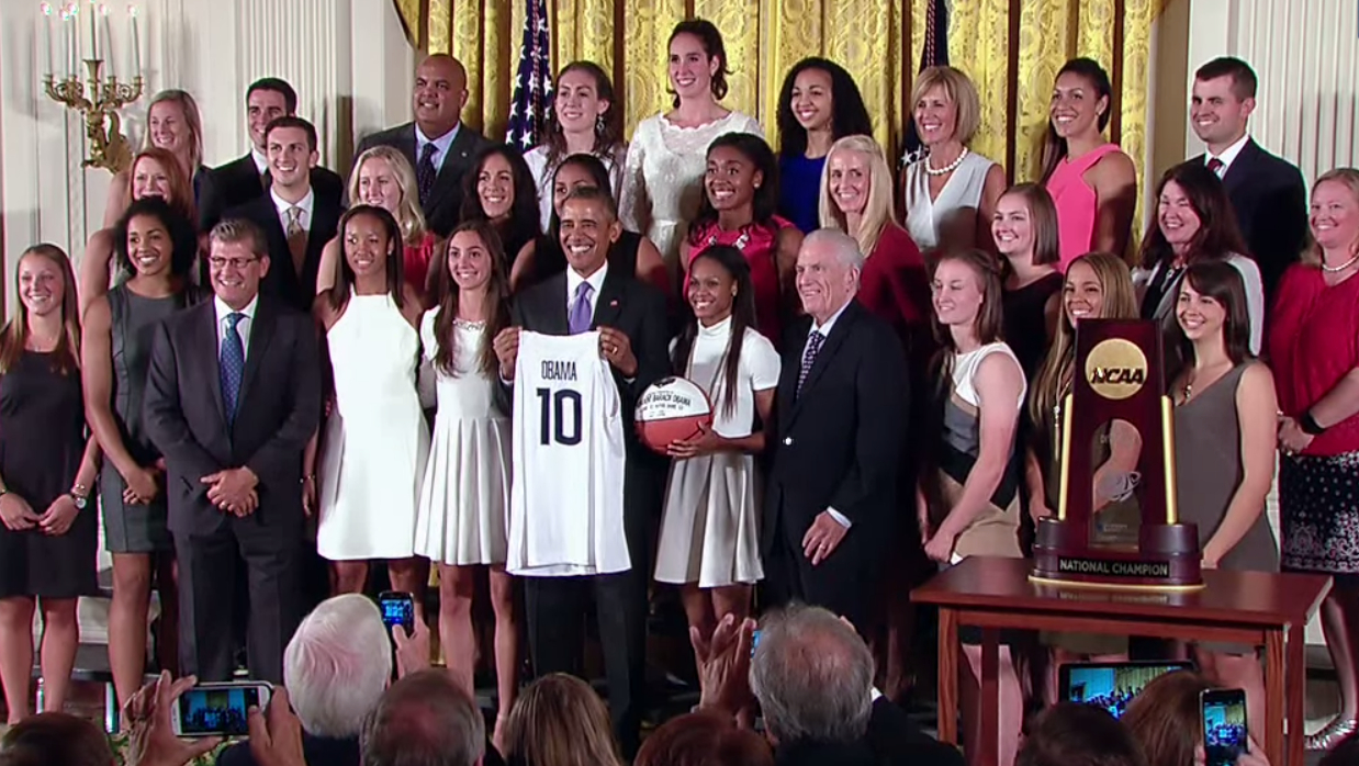Video and transcript: President Obama welcomes 2015 NCAA champion UConn to the White House