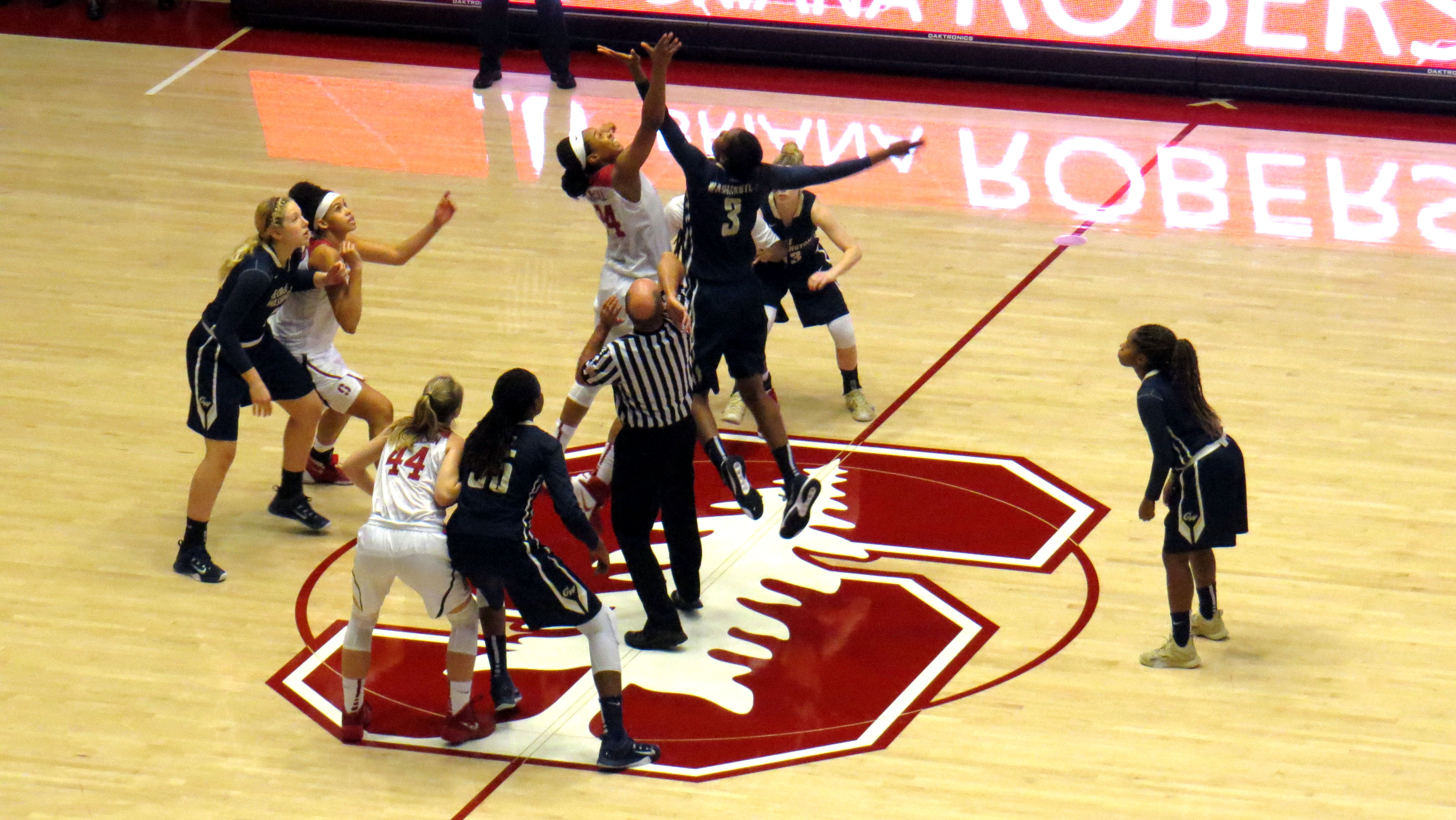 Balanced effort from No. 15 Stanford holds off  No. 22 George Washington and Jonquel Jones