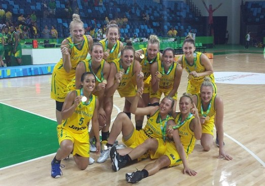 The Australian Opals show off their gold medals from the Rio test event. Photo: Basketball Australia.