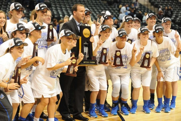 The Thomas More Saints celebrate their second consecutive NCAA Division III Women's Basketball Tournament national championship after defeating Tufts, 63-51, at Bankers Life Fieldhouse in Indianapolis on Monday evening. Photo © Lee Michaelson, all rights reserved.