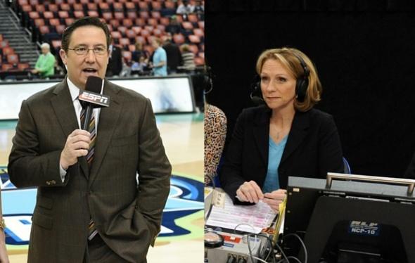 Dave O'Brien and Beth Mowins (O'Brien: Scott Clarke/ESPN Images; Mowins: Joe Fararoni/ESPN Images)