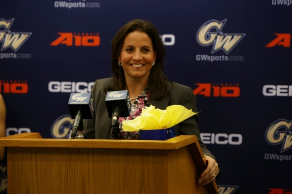 Jennifer Rizzotti (April 15, 2016). Photo: George Washington Athletics.