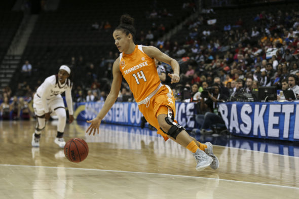 JACKSONVILLE, FL - MARCH 04, 2016 - Andraya Carter #14 of the Tennessee Lady Volunteers during the SEC Basketball Tournament game between the Texas A&M Aggies and the Tennessee Lady Volunteers at the Episcopal School in Jacksonville, FL. Photo By Donald Page/Tennessee Athletics