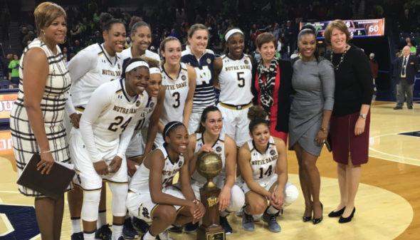 Notre Dame won the 2016 Preseason WNIT Tournament. Photo: WNIT.