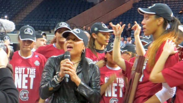 March 27, 2017 (Stockton, Calif.) - Dawn Staley after her team won beat Florida State in the Elite Eight.