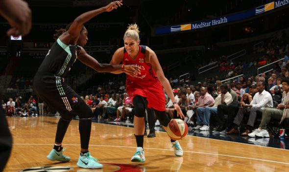 June 29, 2017 - Elena Delle Donne dribbles past Tina Charles. Photo: NBAE/Getty Images.