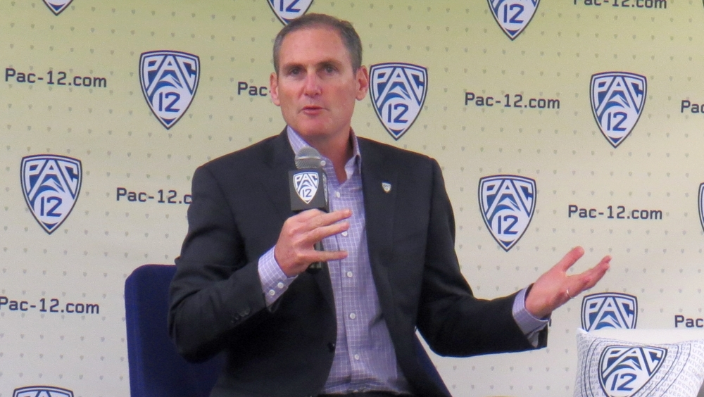 2017 Pac-12 Media Day: Commissioner Larry Scott emphasizes extensive TV coverage as a bedrock of women's basketball success